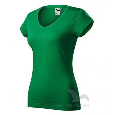 Reklaminiai moteriški marškinėliai V-NECK su logotipu