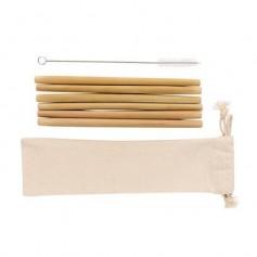 6 bambukinių šiaudelių rinkinys su Jūsų reklama ECOL