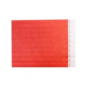 Raudonos popierinės apyrankės su logotipu