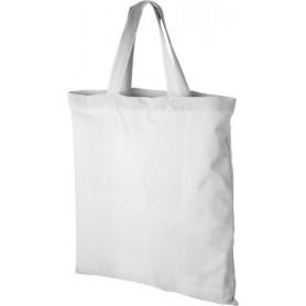Reklaminis medvilninis pirkinių maišelis trumpomis rankenomis, 100 g/m2