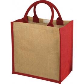 Reklaminiai talpūs džiuto maišeliai su spalva