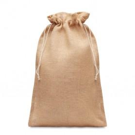 Reklaminiai dideli džiuto dovanų pakavimo maišeliai su logotipu